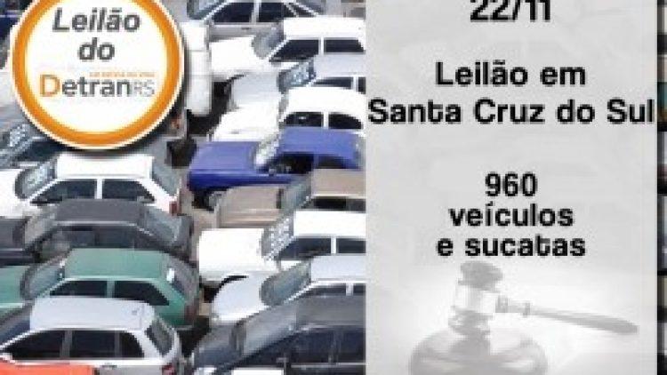 DetranRS promove leilão de veículos e sucatas em Santa Cruz do Sul