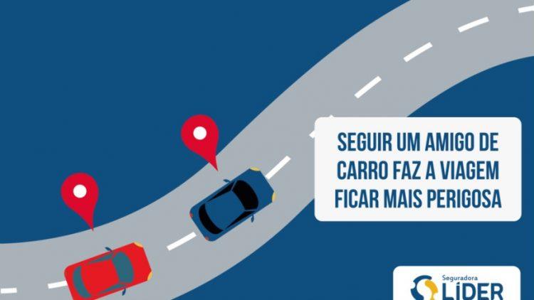 Seguir o carro de um amigo aumenta o risco de acidentes