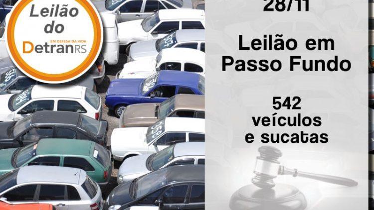 Leilão do DetranRS oferta 542 veículos e sucatas em Passo Fundo