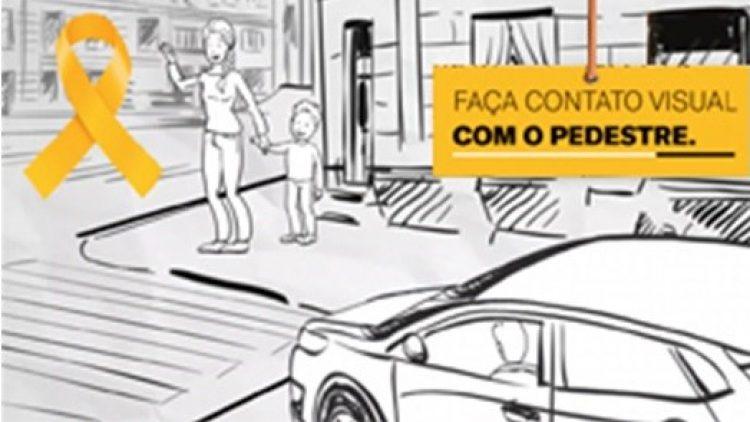 Respeito à faixa de pedestres é o tema de janeiro do Programa Laço Amarelo