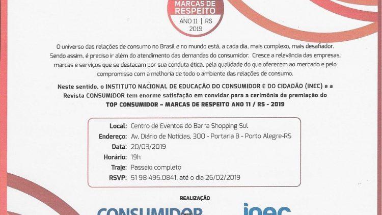 Top Consumidor – Marcas de Respeito Ano 11 / RS – 2019