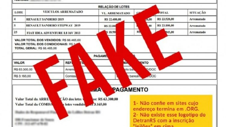 DetranRS reforça alerta: persiste o golpe do falso leilão virtual